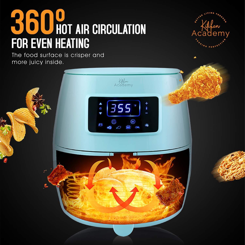 Kitchen Academy 5.8QT Digital Oil Free Air Fryer, Aqua Blue