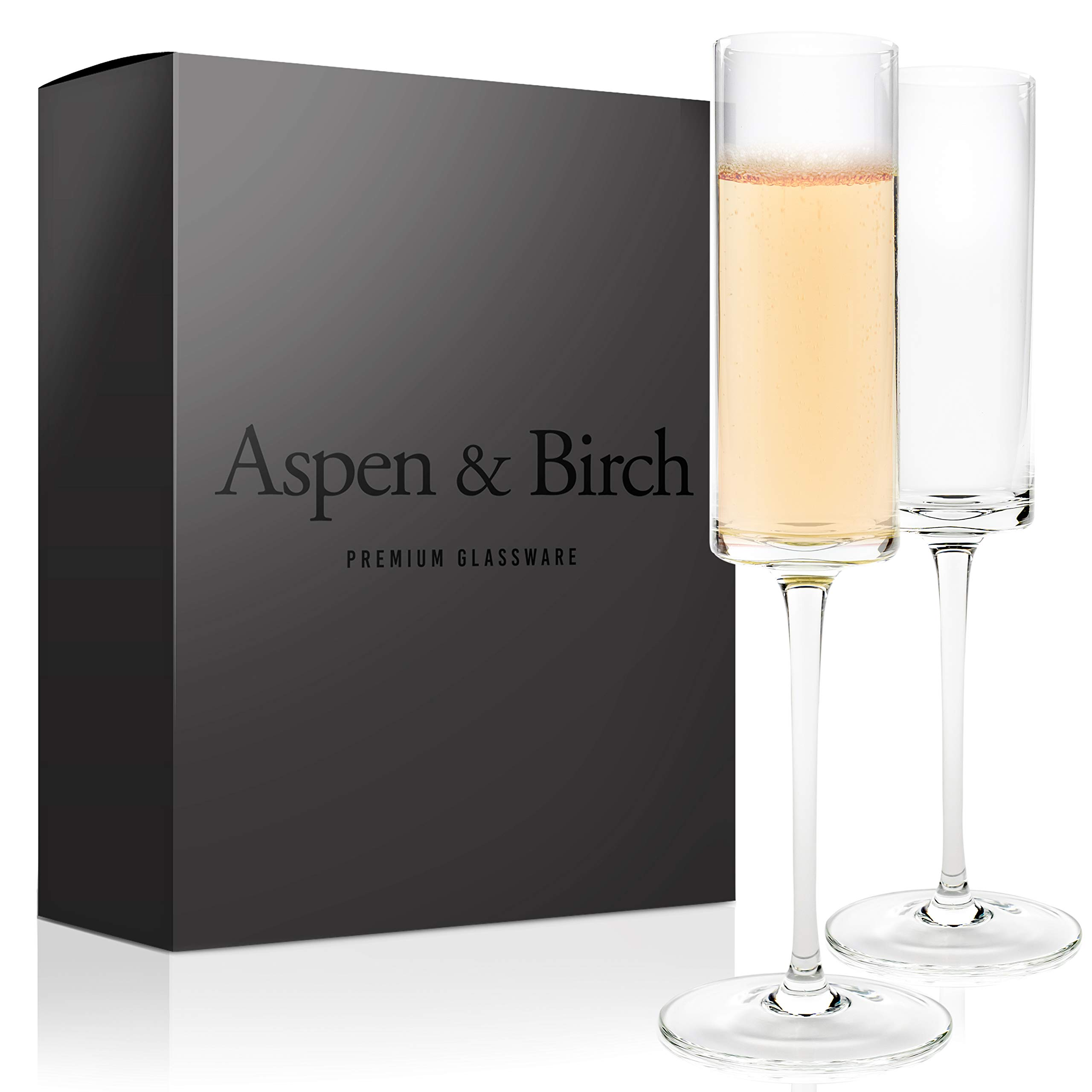 Aspen & Birch | Modern Champagne Flutes Set of 6 | Champagne Glasses | Mimosa Glasses | Hand Blown Glass Champagne Flutes | Clear | 6oz | 100% Lead Free Crystal Stemware | by Aspen & Birch