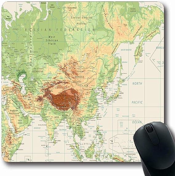Mousepad Oblong Retro País Asia Mapa físico Contorno blanco Ríos ...