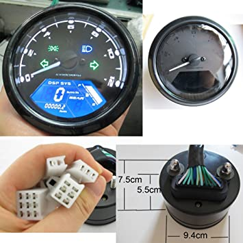 Reddragonfly - 199 km/h 12000 rpm LCD Digital Sdometer Tachometer  on