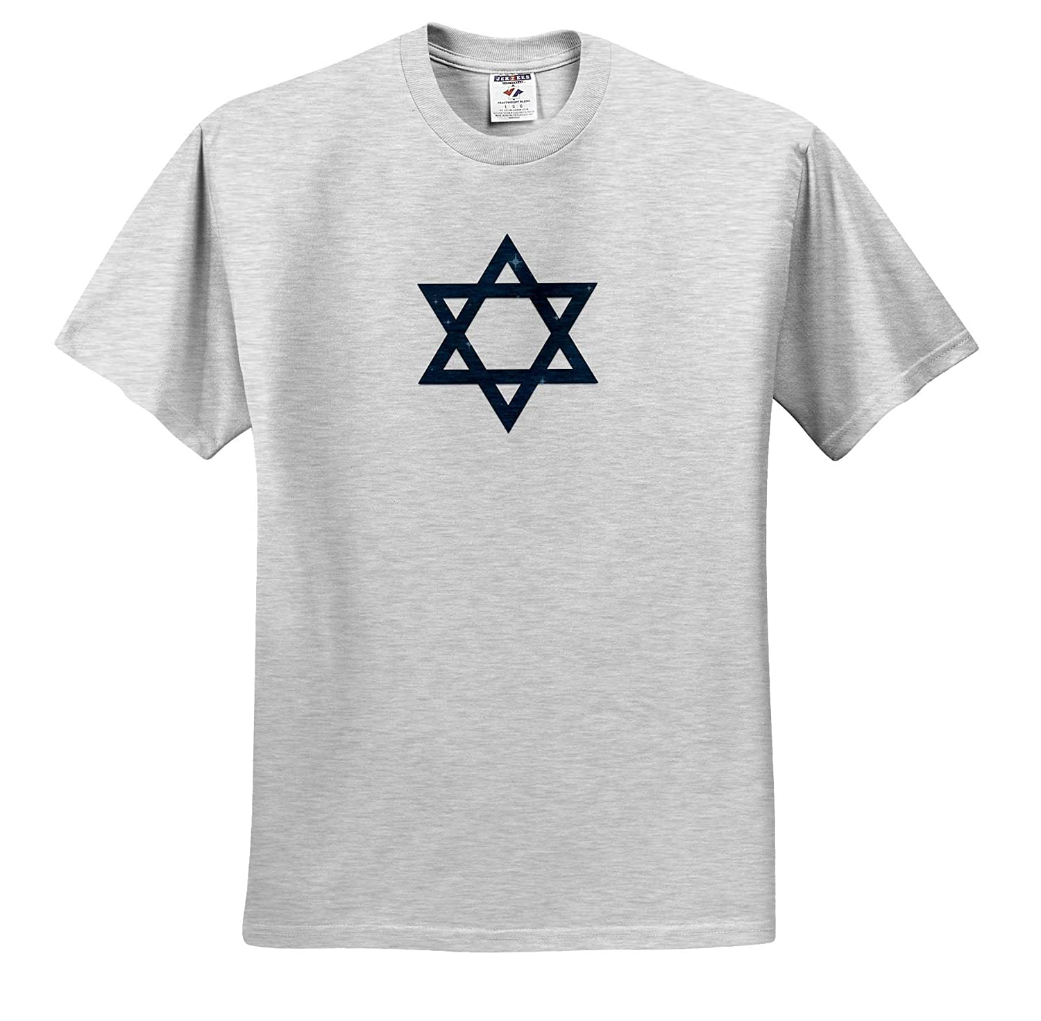 T-Shirts Dark Blue Star of David Decorated with Blue Stars on White 3dRose Alexis Design Star of David