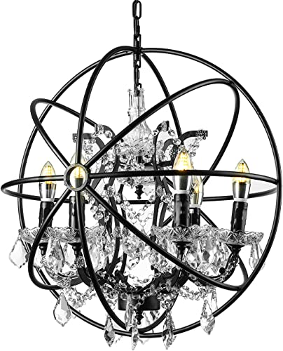 KWOKING Lighting Vintage Candle Sconce Orb Loft Chandelier Ceiling Pendant Light Globe Cage Shape 6 Lights Ceiling Lamp Hanging Lamp