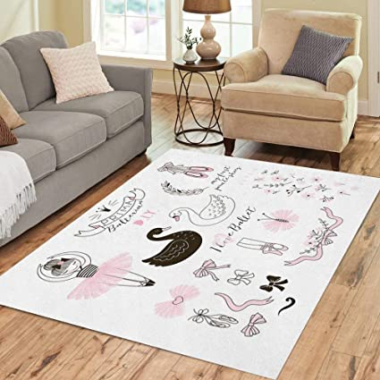 Amazon Com Pinbeam Area Rug Pink Swan Prima Ballerina For