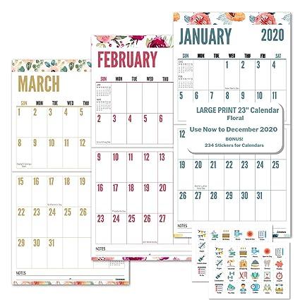 Calendrier Geant.Calendrier Mural Geant 2020 Imprime 2020 Calendar Floral
