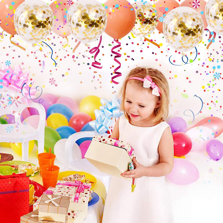 Set 6 Gold Confetti Balloons Birthday Wedding 50 Pcs 12 Inch Golden Helium Latex Plastic Dots Glitter Balloon Bulk for Party Decorations Baby Kids Girl Women Graduation