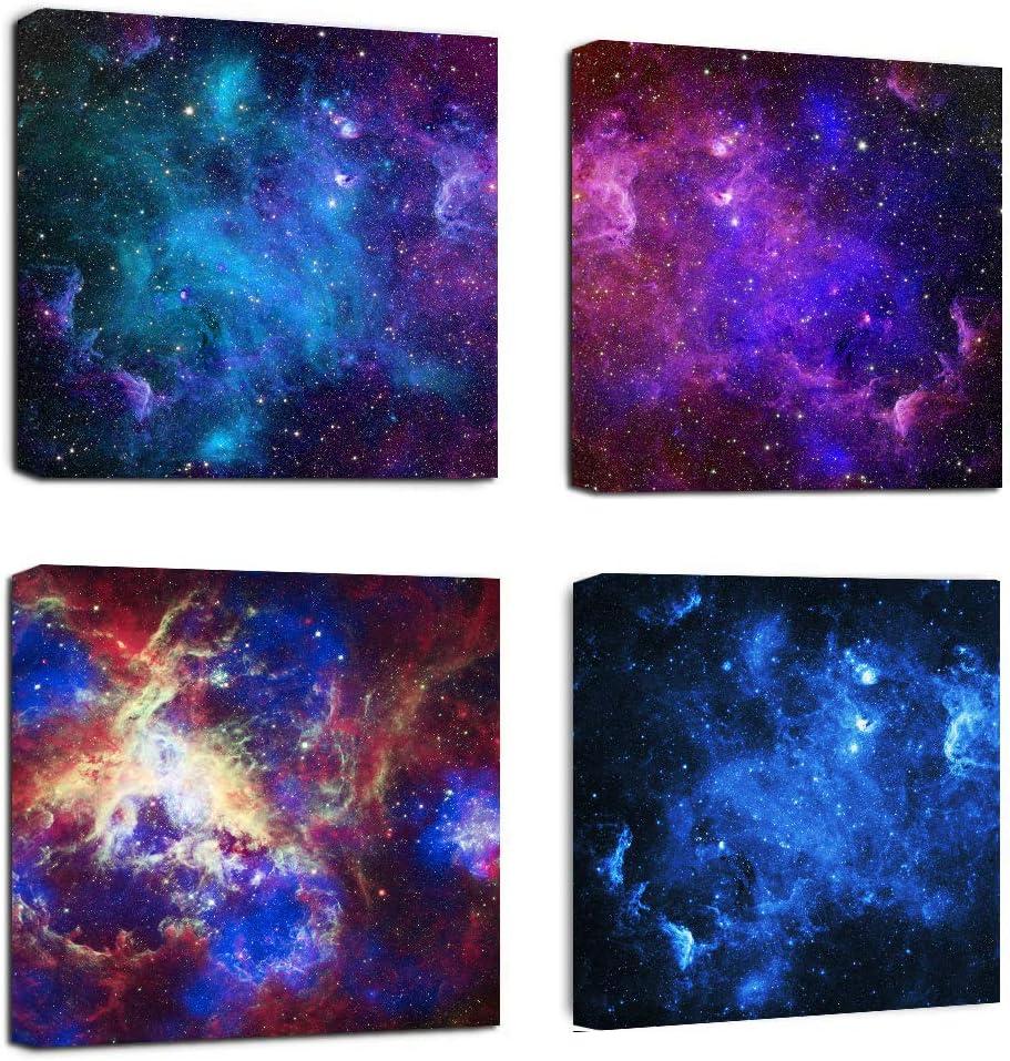 BLUE PURPLE NEBULAE STARS GALAXY SPACE CANVAS PRINT WALL ART PICTURE PHOTO