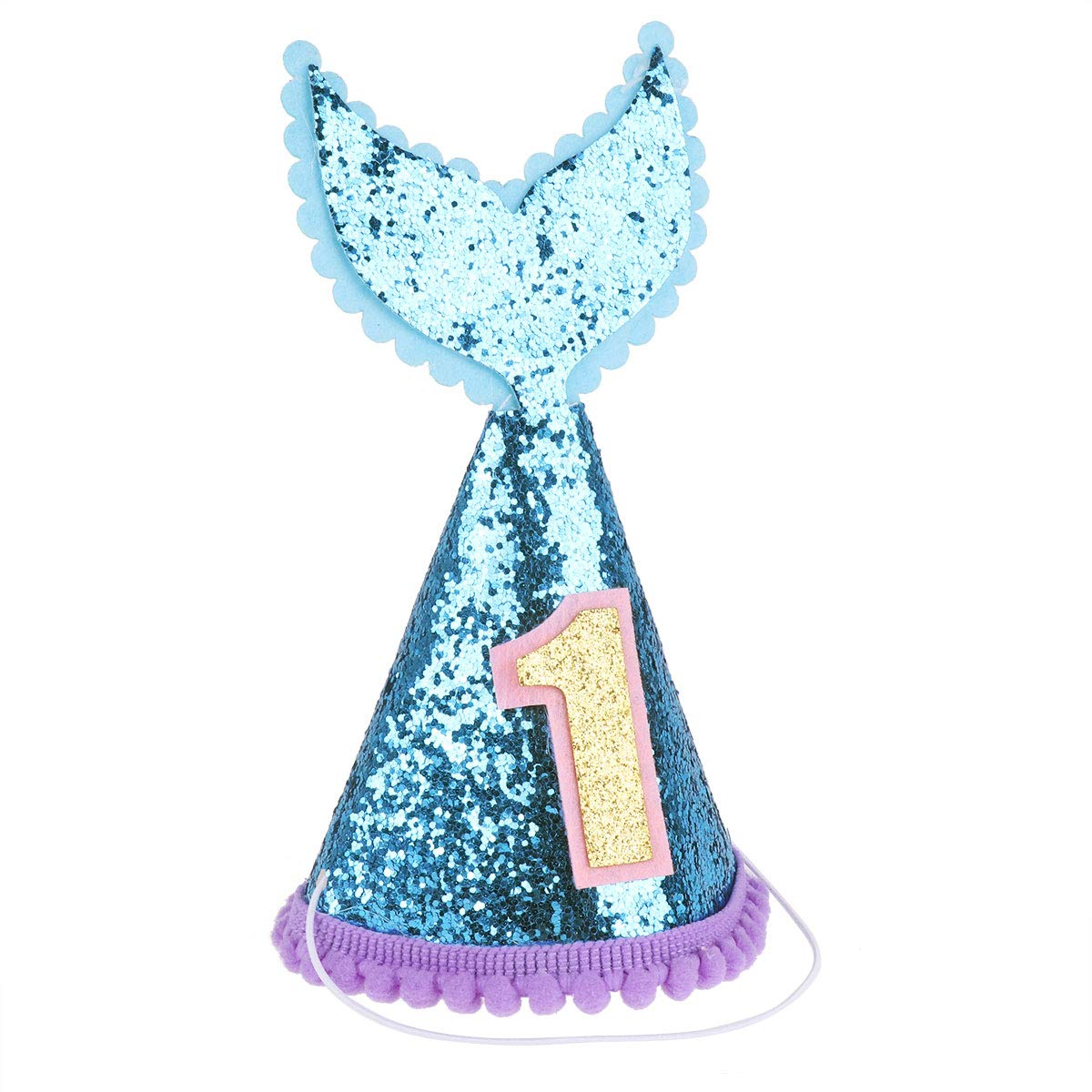 CHICTRY Infant Baby Girls Party Supplies Sequined Mermaid Tail 1st Birthday Cone Hat with Adjustable Headband BlueΠnk One Size