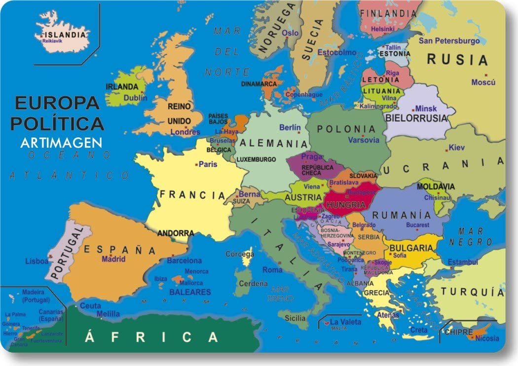 Artimagen Imán Mapa Europa 80x55 mm.: Amazon.es: Hogar