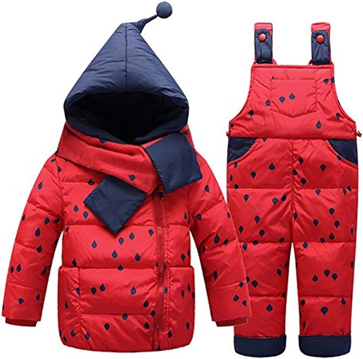 Baby Girls Two Piece Puffer Down Winter Warm Scarf Dot Printed Snowsuit Jacket with Snow Ski Bib Pants