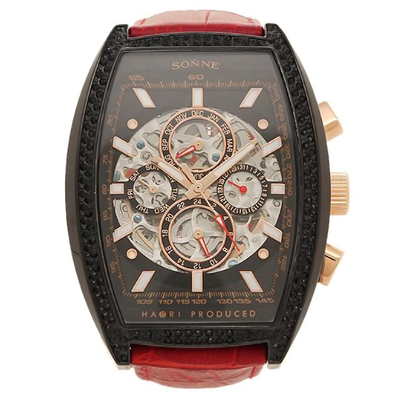 [ゾンネ] 腕時計 SONNE H018BBZ-RE ブラック レッド [並行輸入品] B06WWC5PJ8