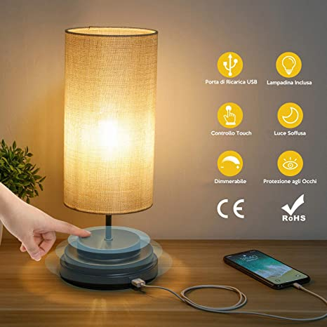 Kohree Lámpara de mesita de noche, lámpara de mesa luz ...