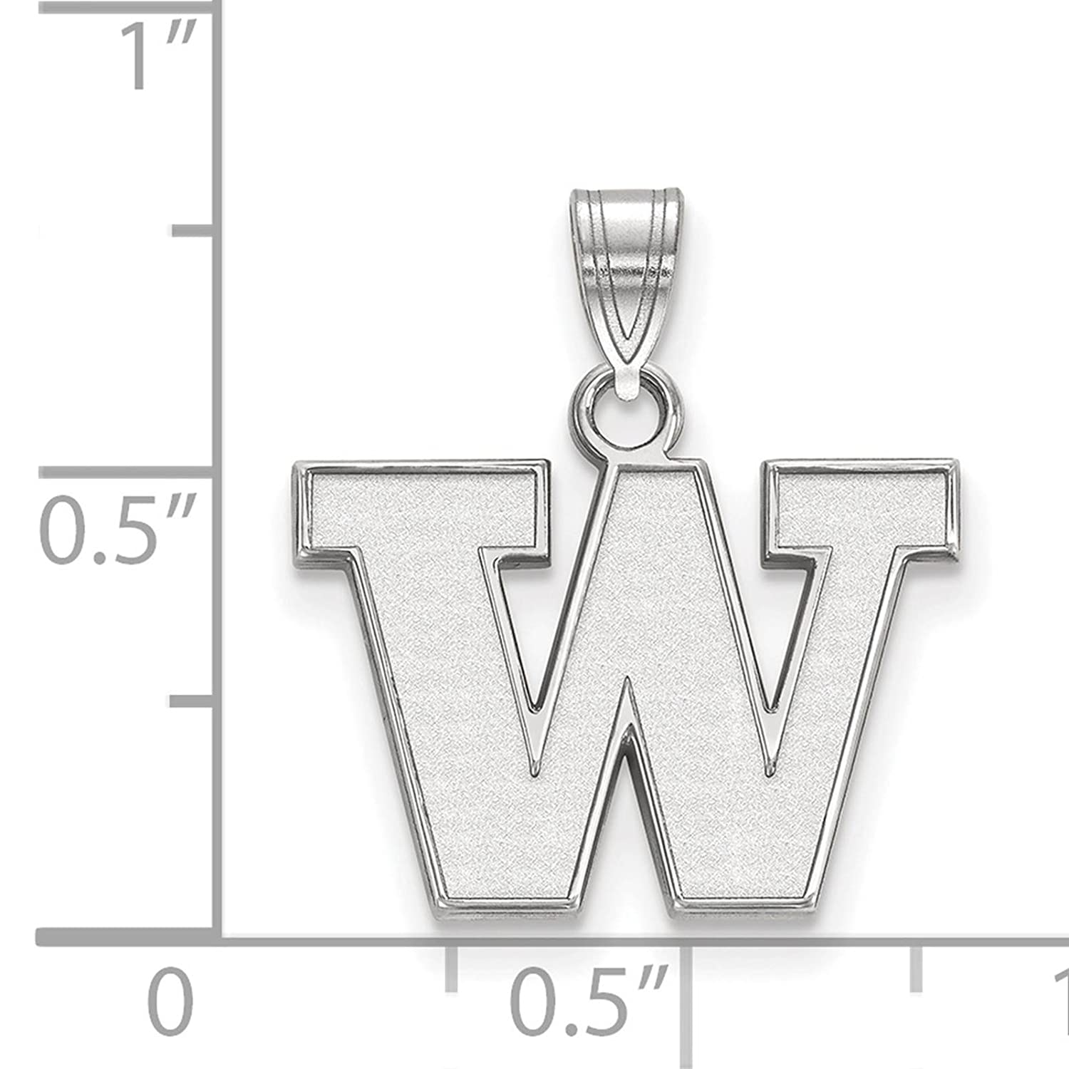 925 Sterling Silver Rhodium-plated Laser-cut University of Washington Small Pendant
