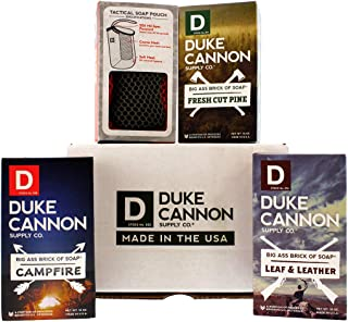 "product image for Duke Cannon""The Frontier Box"" Big Brick of Soap Men's Gift Set: Fresh Cut Pine, Leaf & Leather, Campfire + Tactical Soap On a Rope"
