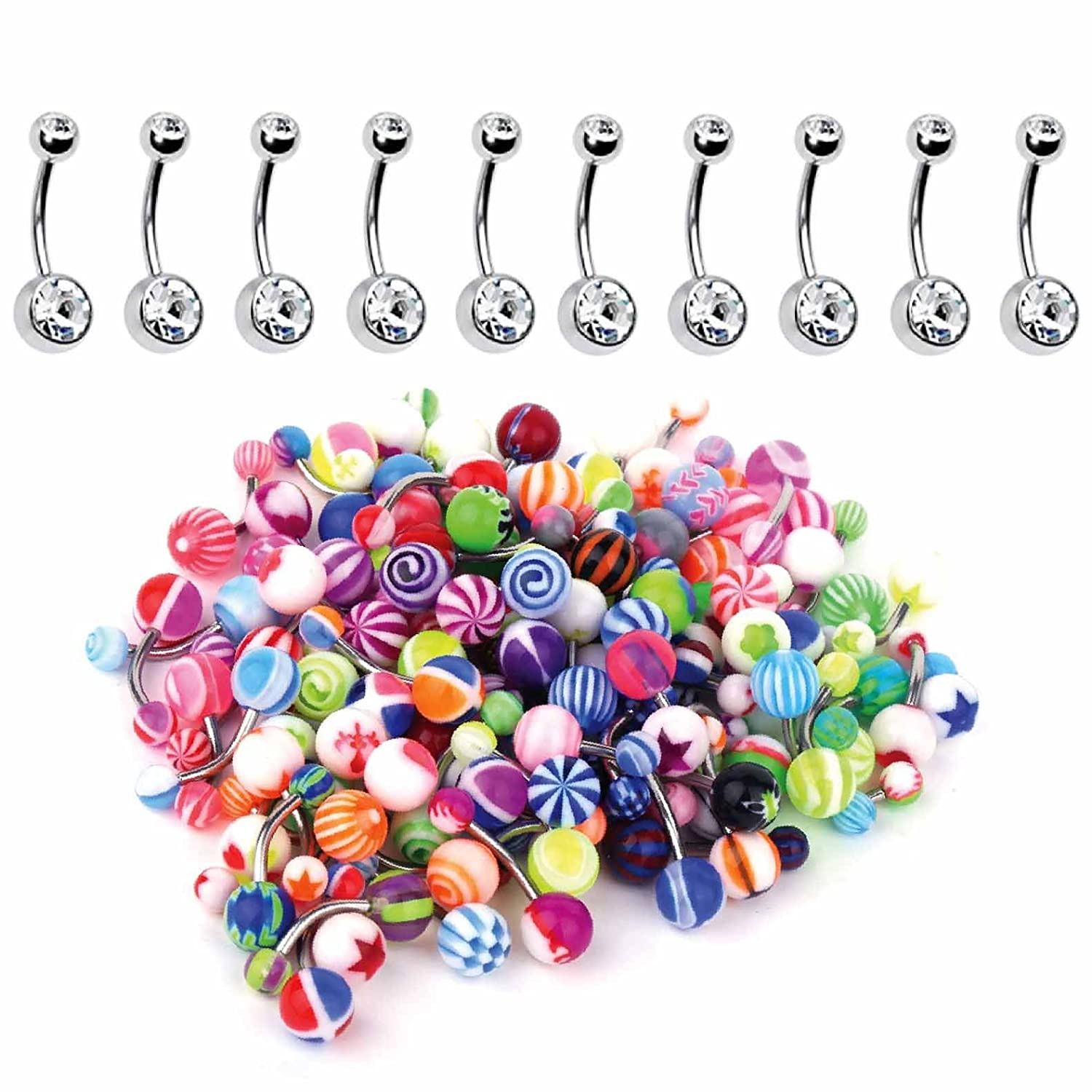 BodyJ4You 60PC Belly Button Ring Set 14G Mix CZ Steel Acrylic Bioflex Banana Bar Body Piercing Jewelry BN1745