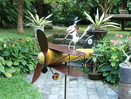 Spike Dog Aviator Whirligig Sculpture Garden Animal Decor Yard Stake Wind  Spin