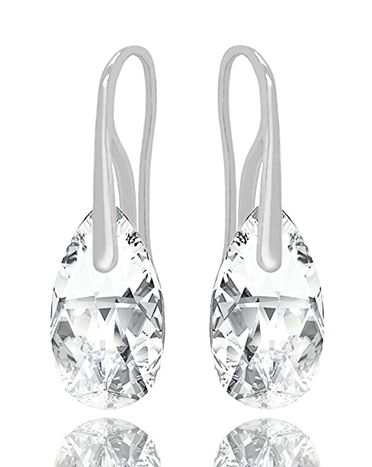 710371c0d Amazon.com: Sterling Silver 925 Made with Swarovski Crystals Clear Teardrop  Pierced Earrings: Jewelry