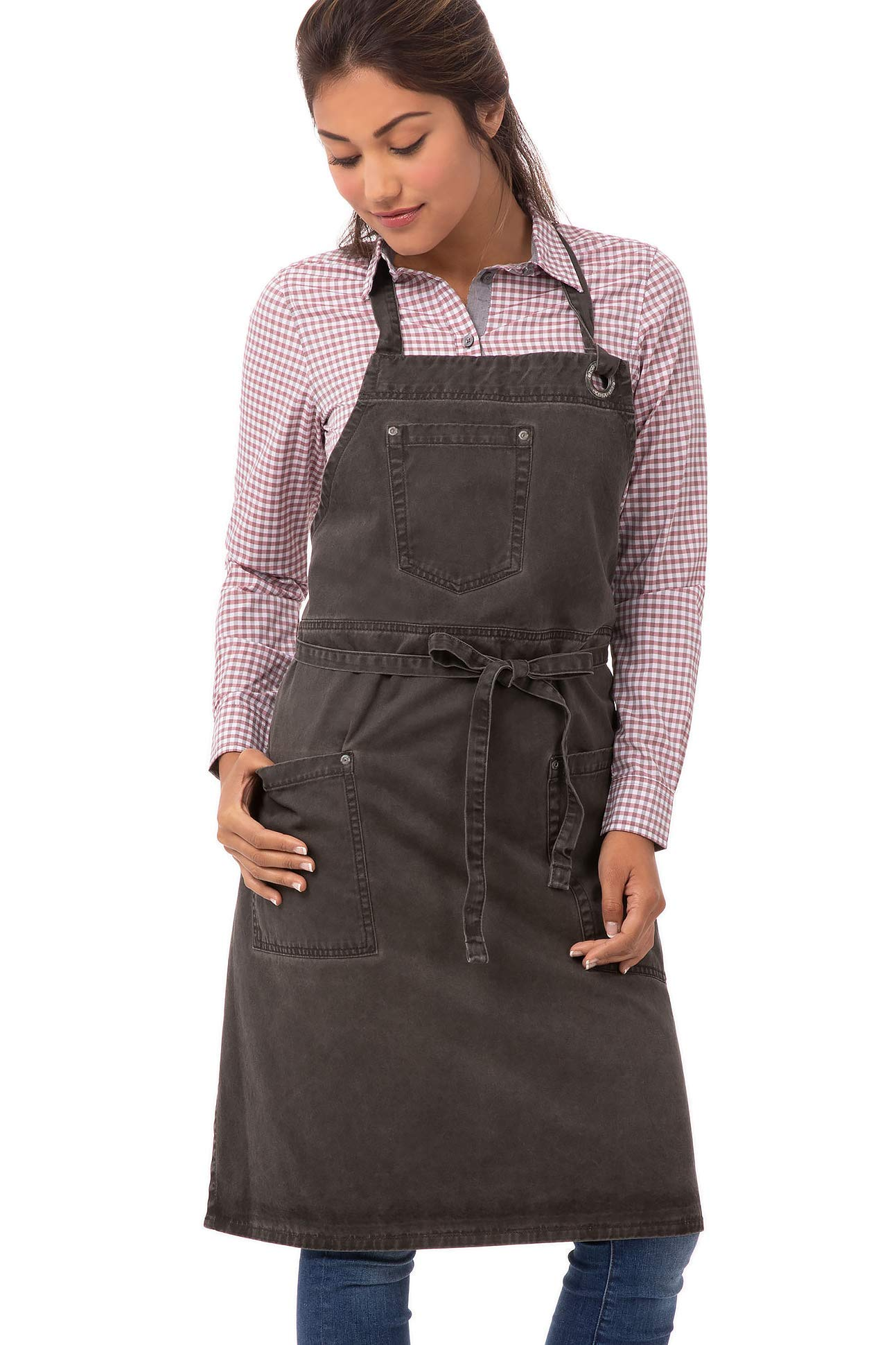 Chef Works Unisex Dorset Bib Apron, Pewter, One Size by Chef Works