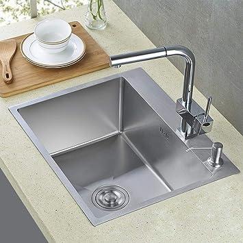 Auralum Lavello da cucina incasso in acciaio inox seta lucida con 1 vasca e  gocciolatoio seta (55 × 45cm)