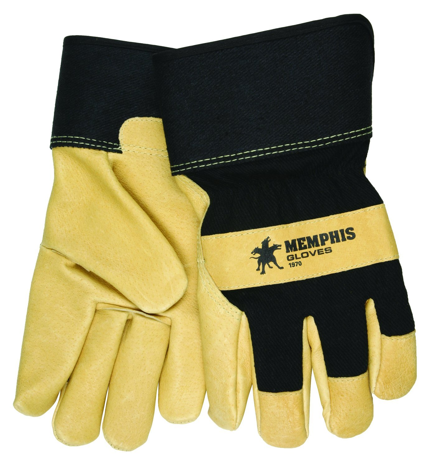 MCR Safety 1970XXL Grain Pigskin Leather Thermal Lined Gloves with 2-1/2-Inch PE Cuff, Light Yellow/Black, 2X-Large, 1-Pair by MCR Safety (Image #1)