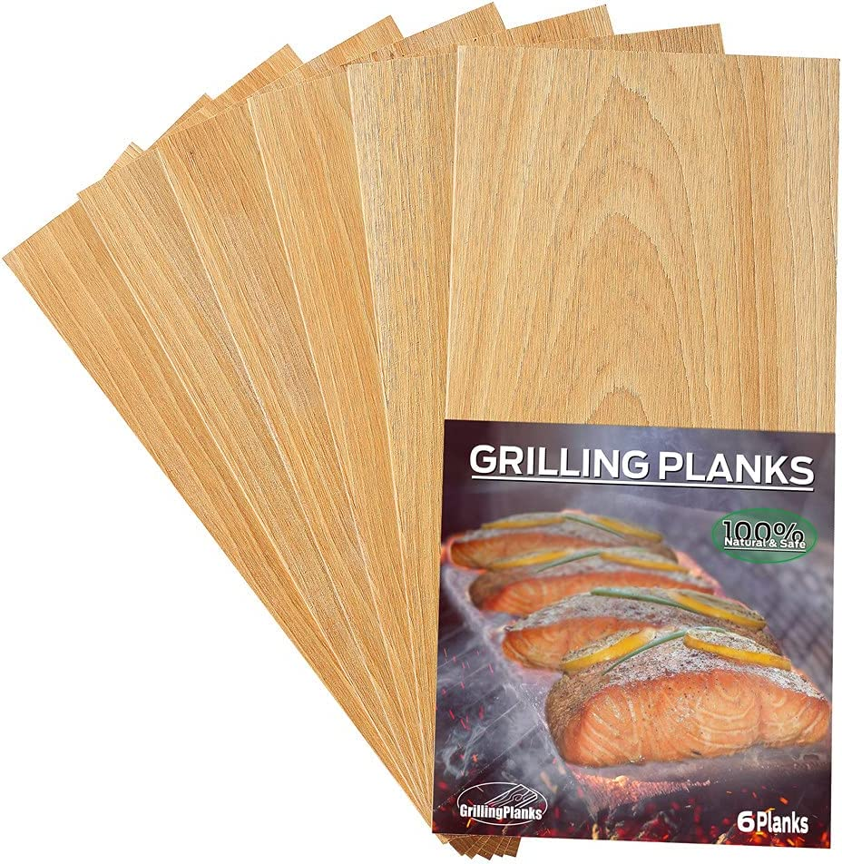 GrillingPlanks Cedar Planks for Grilling Salmon, Fish, Meat and Veggies. Add Extra Smoke and Flavor, Fast Soaking, Easy Using Cedar Grilling Planks 6 Pack. : Garden & Outdoor