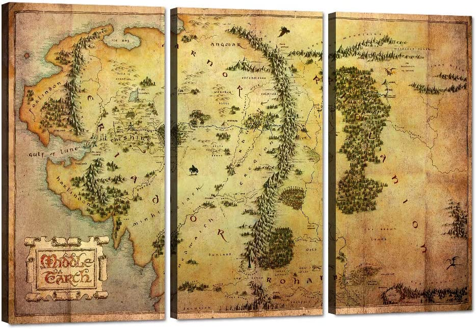 Yatsen Bridge 3 Pieces Wall Art Decor The Hobbit Map Canvas Painting Map of Middle Earth Picture Vintage HD Prints Posters Artwork for Living Room Bedroom Office Gift Framed Easy to Hang (40''Hx60''W)