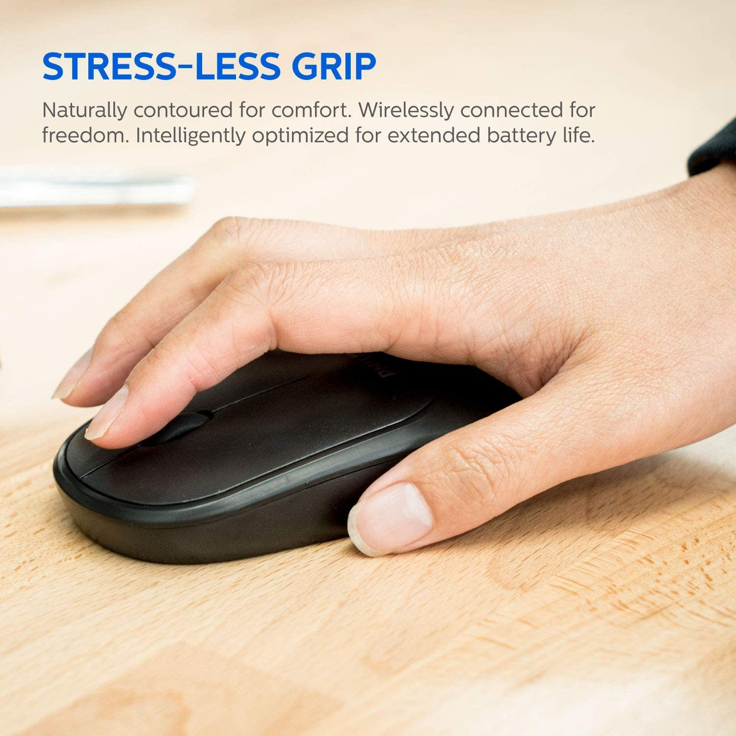 PC or Notebook Low-Profile Laptop | Plug and Play for Windows Adjustable DPI Mouse Full-Sized Keyboard Ambidextrous Philips SPT6324 Wireless Keyboard and Mouse Combo