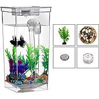 Desktop Aquariums Goldfish Fish Tank Square Self Cleaning Mini Plastic Betta Including Accessories