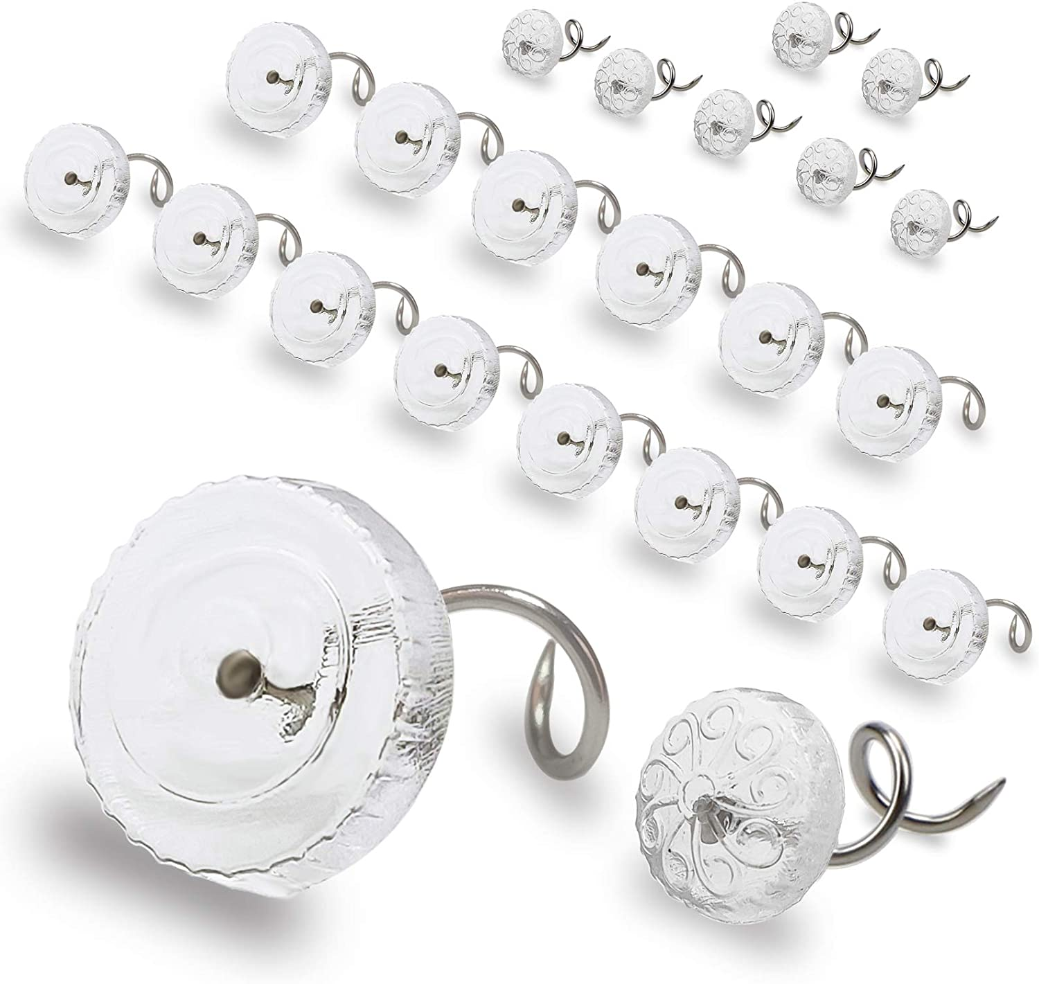 AZELMADE 120 PCS Bed Skirt Pins Lage 20PCS // Middle 100PCS Two Sizes Meet Various Needs Premium Twist Pins with Clear Heads for Upholstery Slipcovers and Bedskirts