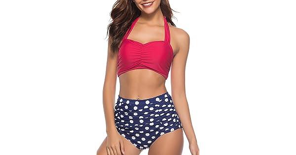 d2c9685924af4 CHERRY CAT Vinatge Polka High Waisted Cute Bikinis Bathing Suits (Rose  Red,S)