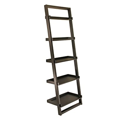 Winsome Wood Bailey Leaning 5 Tier Shelving Unit Black