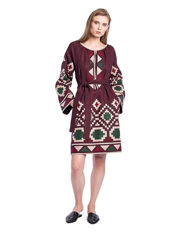 8a2ac17e44 ETNODIM Woman Embroidered Ukrainian Ethnic Dress Vyshyvanka Long Sleeve  Linen at Amazon Women s Clothing store