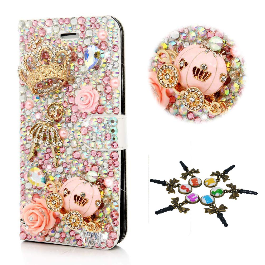 STENES Bling Case Compatible with LG G7 ThinQ - Stylish - 3D Handmade Crown Ballet Pretty Girl Pumpkin Car Flowers Magnetic Wallet Leather Cover Compatible with LG G7 / LG G7 ThinQ - Pink