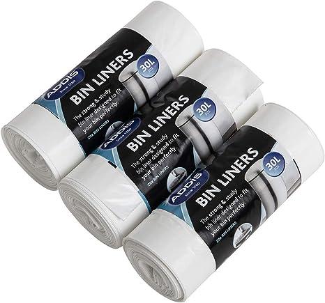 Addis Bin Liners White 30 Litre Pack 20/'s