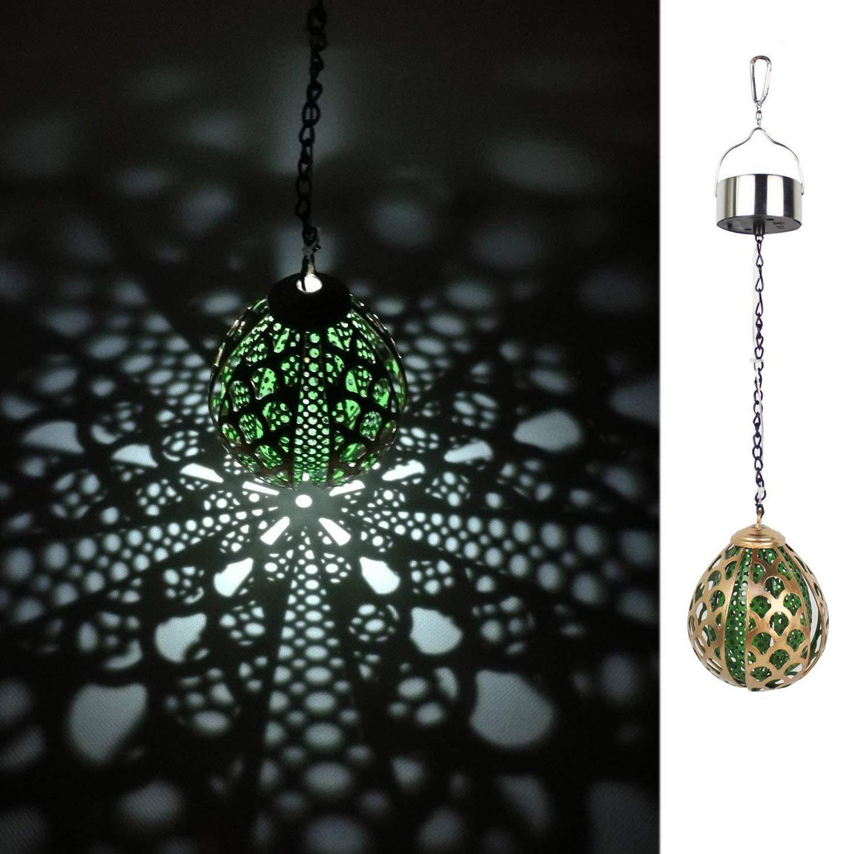 Kaixoxin Solar Hanging Light, Outdoor Waterproof LED Balloon Lights, Metal Garden Decorative Ball,Green