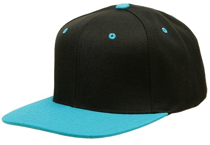 4048268b9 Original Yupoong Two-Tone Pro-Style Wool Blend Snapback Snap Back Blank Hat  Baseball Cap 6098MT Black / Teal OSFA