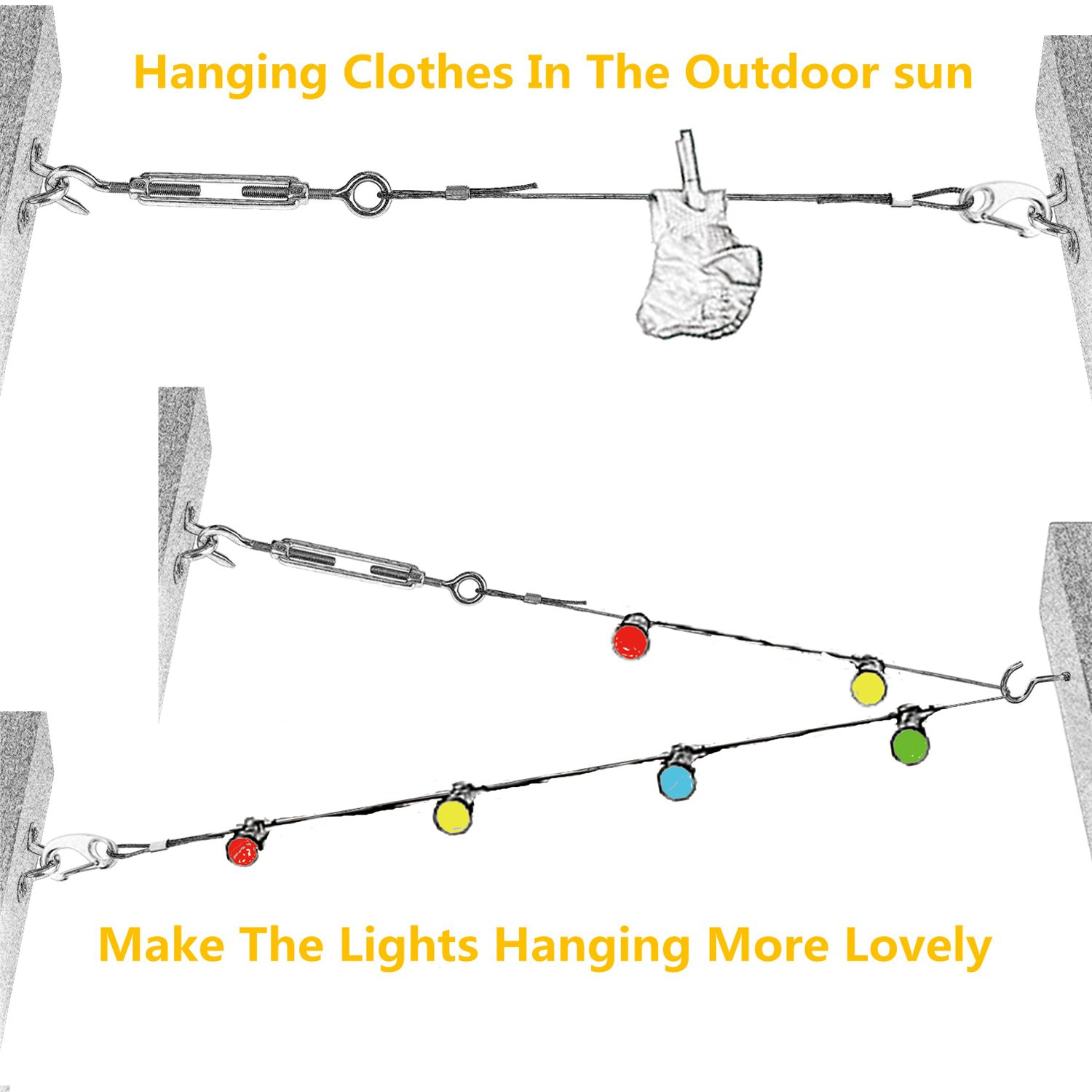 Aotree Globe String Light Suspension Kit Outdoor Guide Wire Phone Line Wiring Stainless Steel Hanging Cable