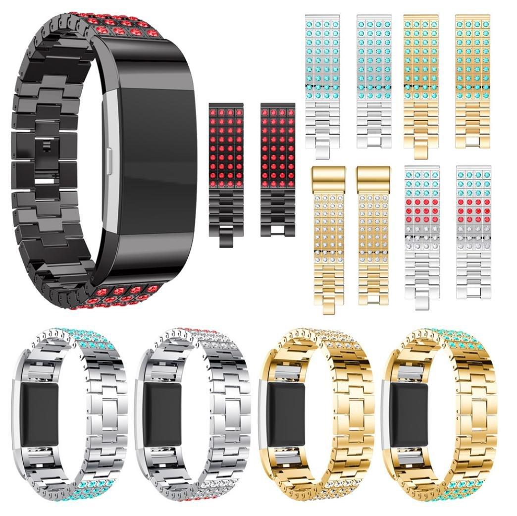 Fitbit Charge 2腕時計ストラップ、nacomeクリスタルステンレススチール時計バンドアクセサリーバンドブレスレットfor Fitbit Charge 2 B B B078W1HKQX
