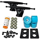 "LONGBOARD Skateboard TRUCKS COMBO set w/ 71mm WHEELS + 9.675"" Polished / Black trucks Package by Yocaher"