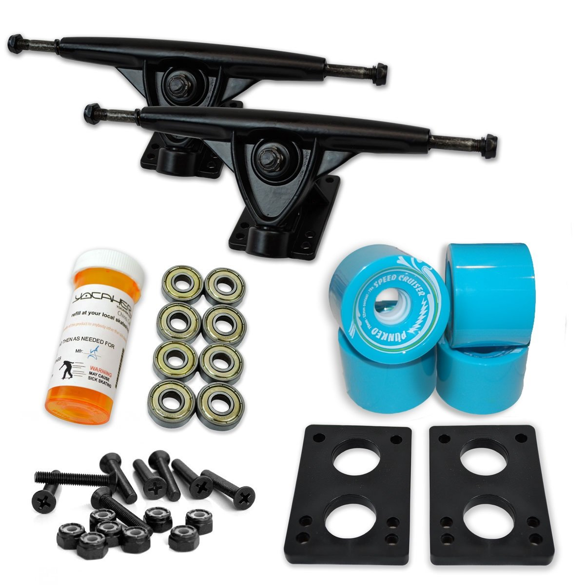 Yocaher Longboard Skateboard Trucks Combo Set w/ 71mm Wheels + 9.675'' Polished/Black Trucks Package (Baby Blue, Black Trucks) by Yocaher