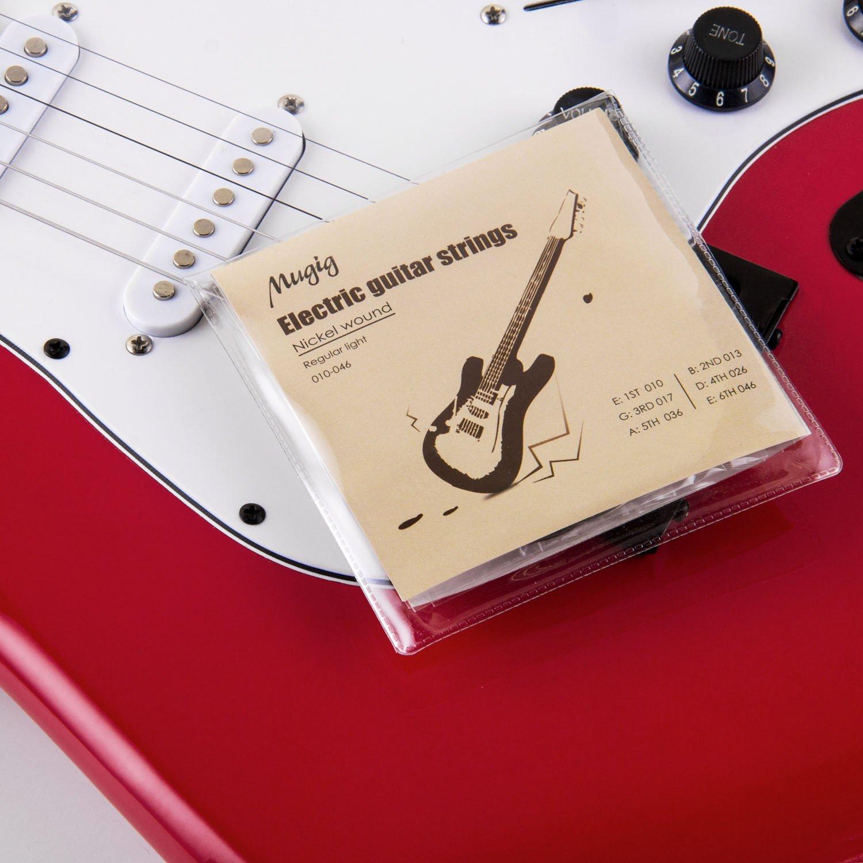 Mugig Juego de Cuerdas para Guitarra Eléctrica 6 Cuerdas de Acero (6 × 3 paquetes): Amazon.es: Instrumentos musicales