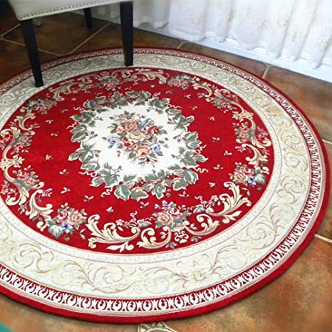 Hihome Antique Classic Red 5 Round Area Rug With Traditional Christmas Match Colors And Floral