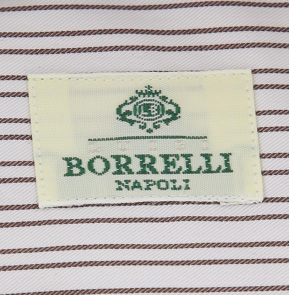 Luigi Borrelli Brown Stripes Button Down Spread Collar Cotton Slim Fit Dress Shirt Size Medium 16