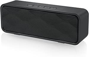 Totola Wireless Bluetooth Speaker with AUX/USB/TF Card Slot,Outdoor Portable Stereo Speaker with HD Audio,Enhanced Bass, Dual-Driver,Handsfree Calling, FM Radio Speaker for Travel,Party (Black)