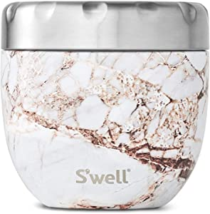 S'well Eats 2-in-1 Nesting Bowls Triple-Layered Vacuum-Insulated Containers Keeps Food and Drinks Cold for 11 Hours and Hot for 7 - with No Condensation - BPA Free, 21.5oz, Calacatta Gold