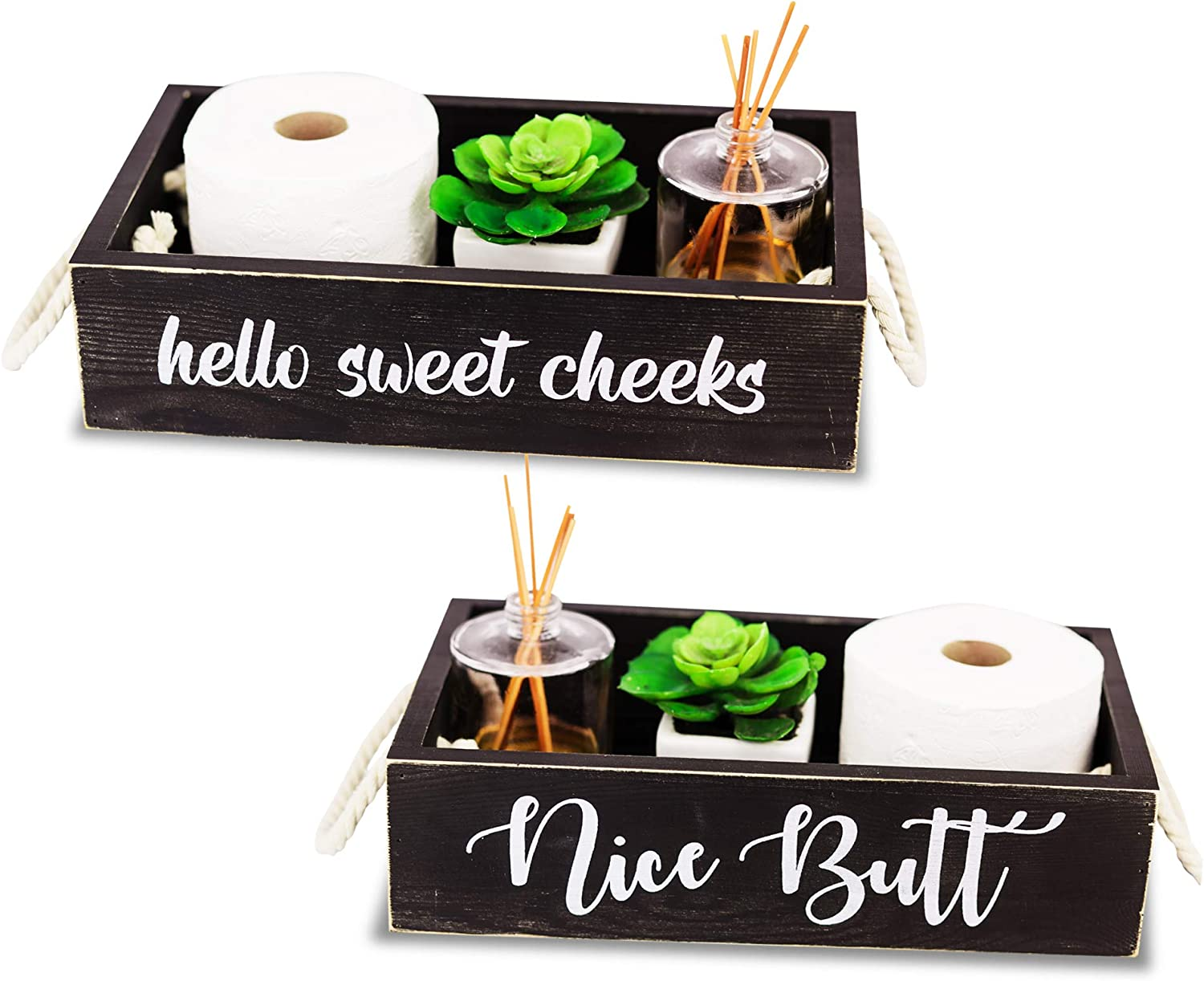 Nice Butt Bathroom Decor Box, 2 Sides Funny Saying Toilet Paper Holder - Rustic Farmhouse Wooden Decoration Tray for Portable Counter Storage, Baby Diaper Caddy, Tissues Organizer and Gifts (Black)