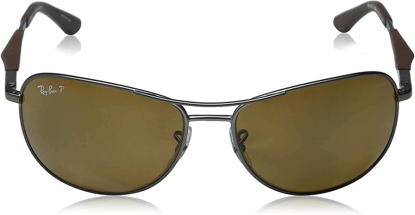 9e2a523257 Unisex RB3519. Ray-Ban Polarized RB3519 Sunglasses - Matte Gunmetal Frame Brown  Lens