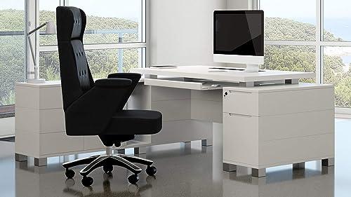 White Finish Ford Executive Modern Desk