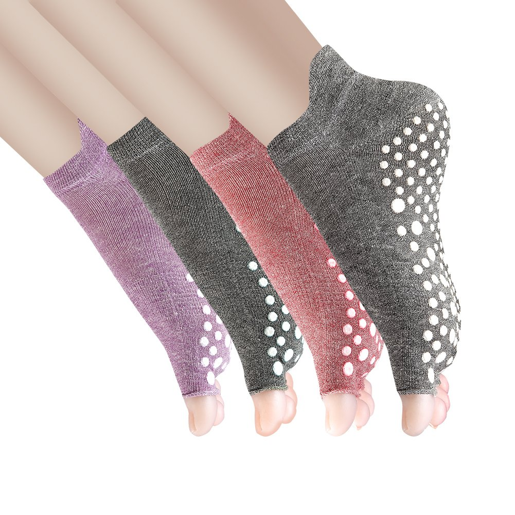 Yoga Socks Non Slip Skid Pilates Barre with Grips for Women 4 Pack by Cosfash,Toeless Multicoloured(cotton),One size(Women's shoe size 5-9)