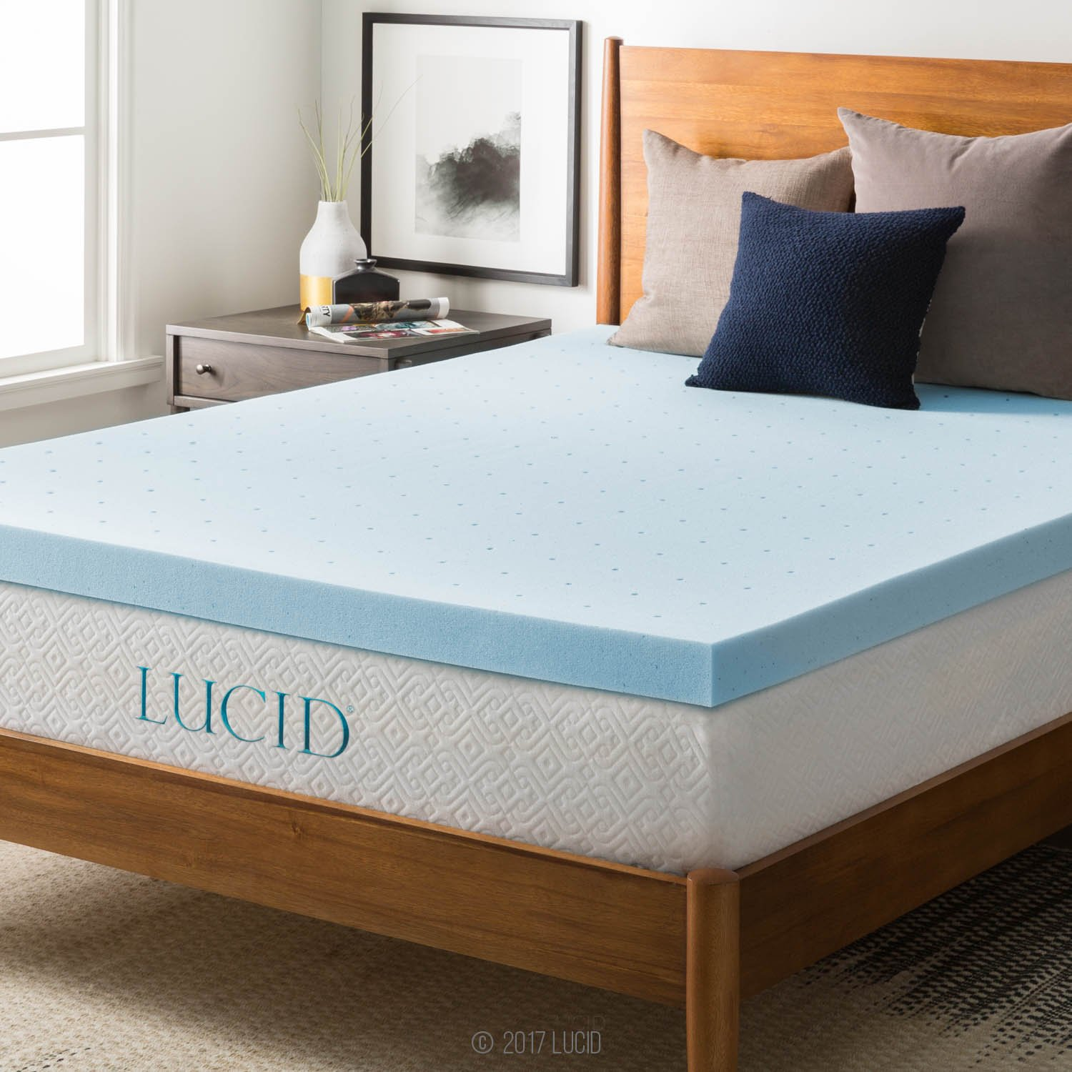 LUCID 3'' Gel Memory Foam Mattress Topper, Blue, King by LUCID