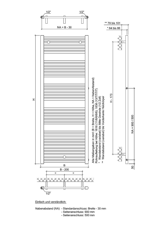 Cool XIMAX Badheizkörper HEKTOR-SA (weiß) mit Seitenanschluss NA:900 mm  CT77
